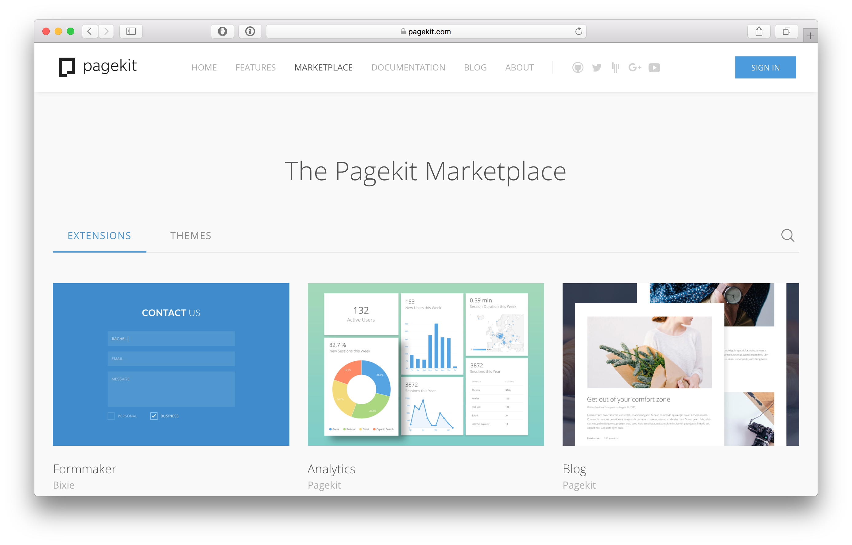 Pagekit marketplace
