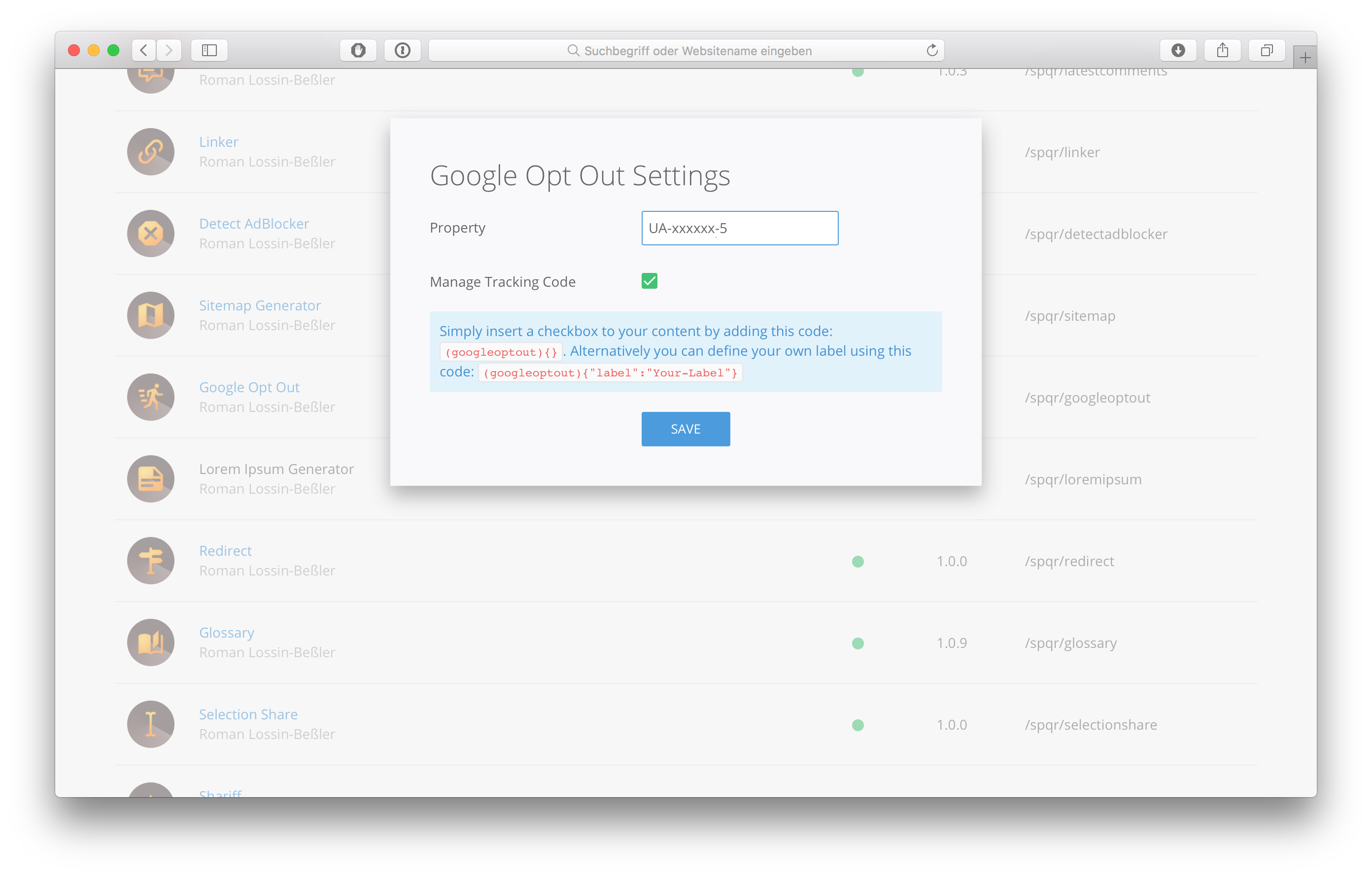 Google Opt Out extension for Pagekit