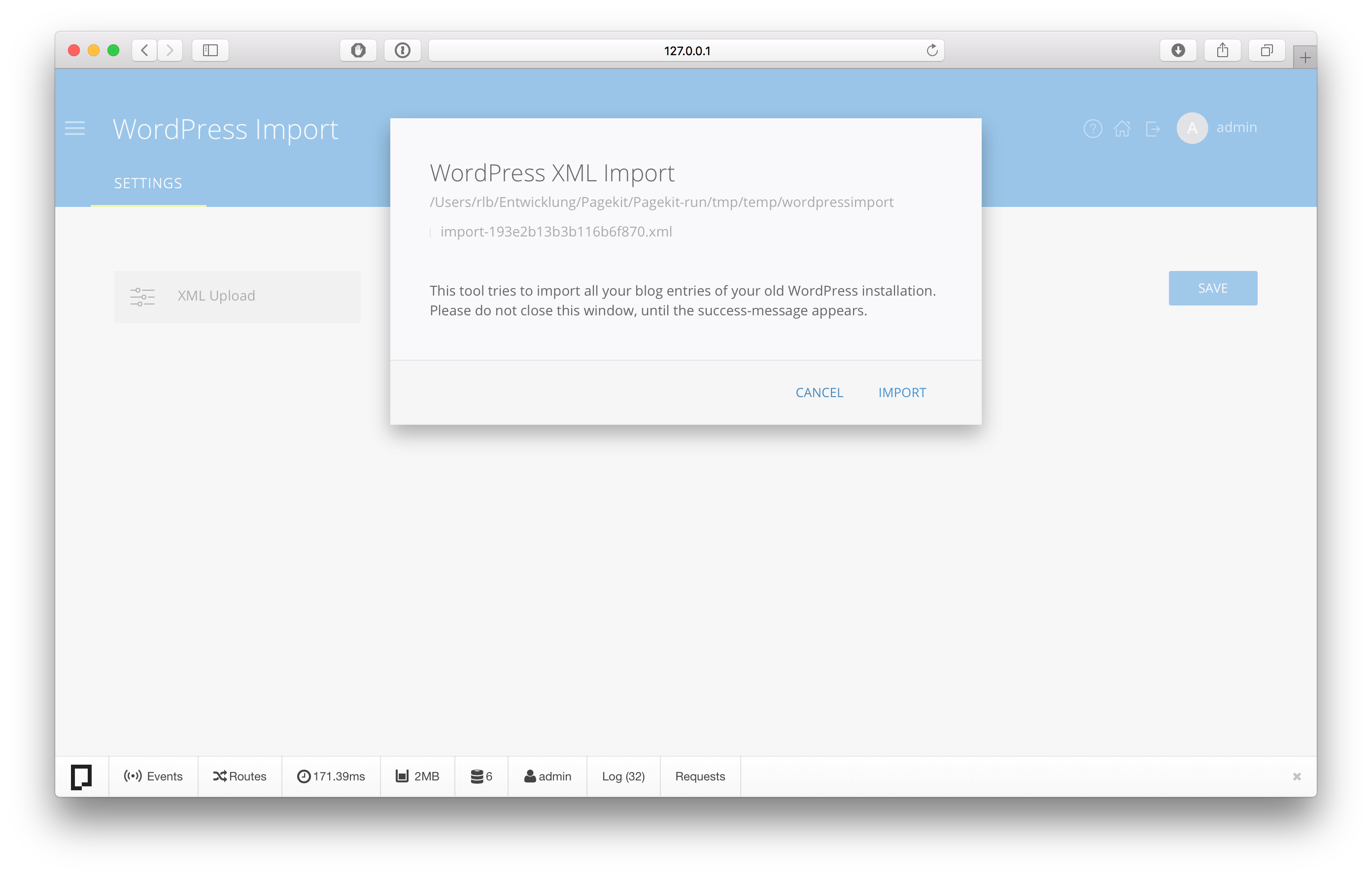 WordPress Import script for Pagekit CMS