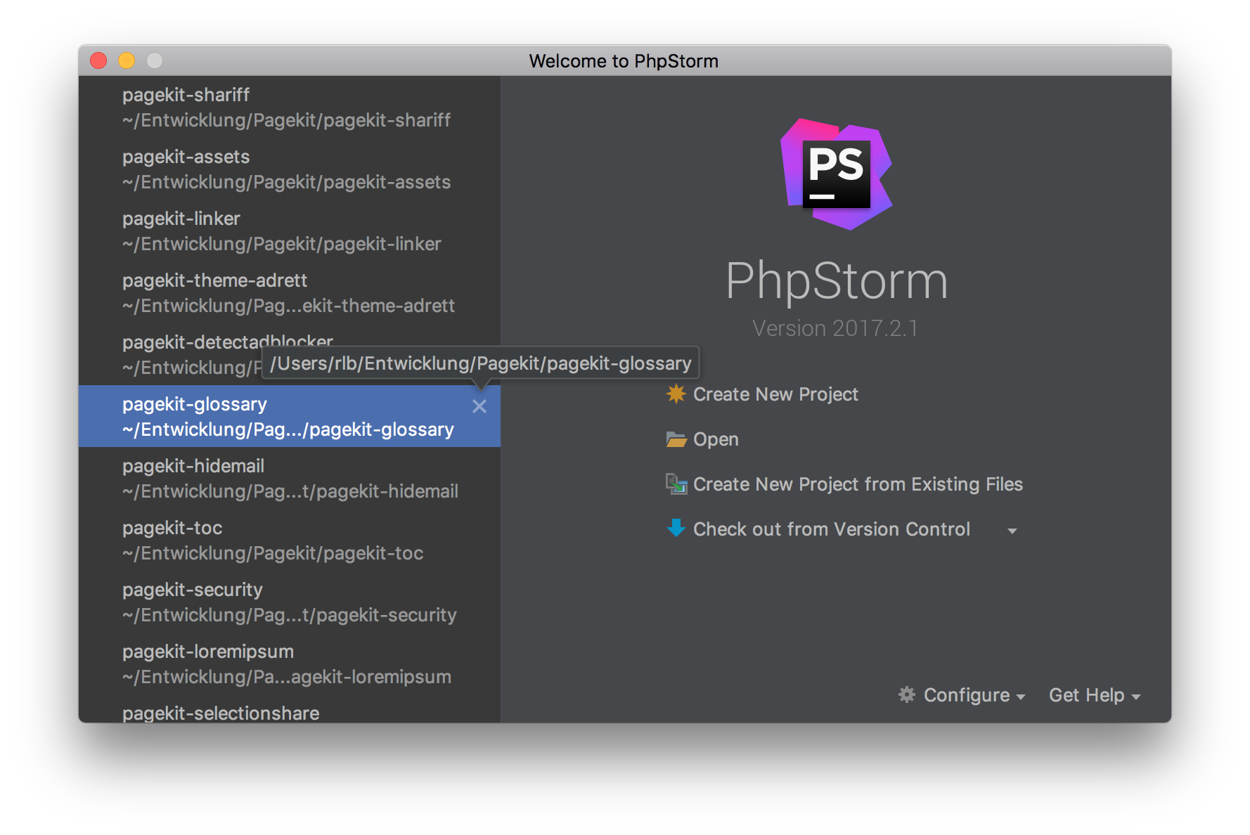 Phpstorm welcome screen